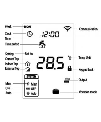 MCO Home - Thermostat MH7 EH2 für Elektroheizungen (mit Feuchtigkeitssensor) Version 2